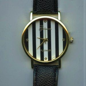 Gold stainless steel Geneva watch, Black and White